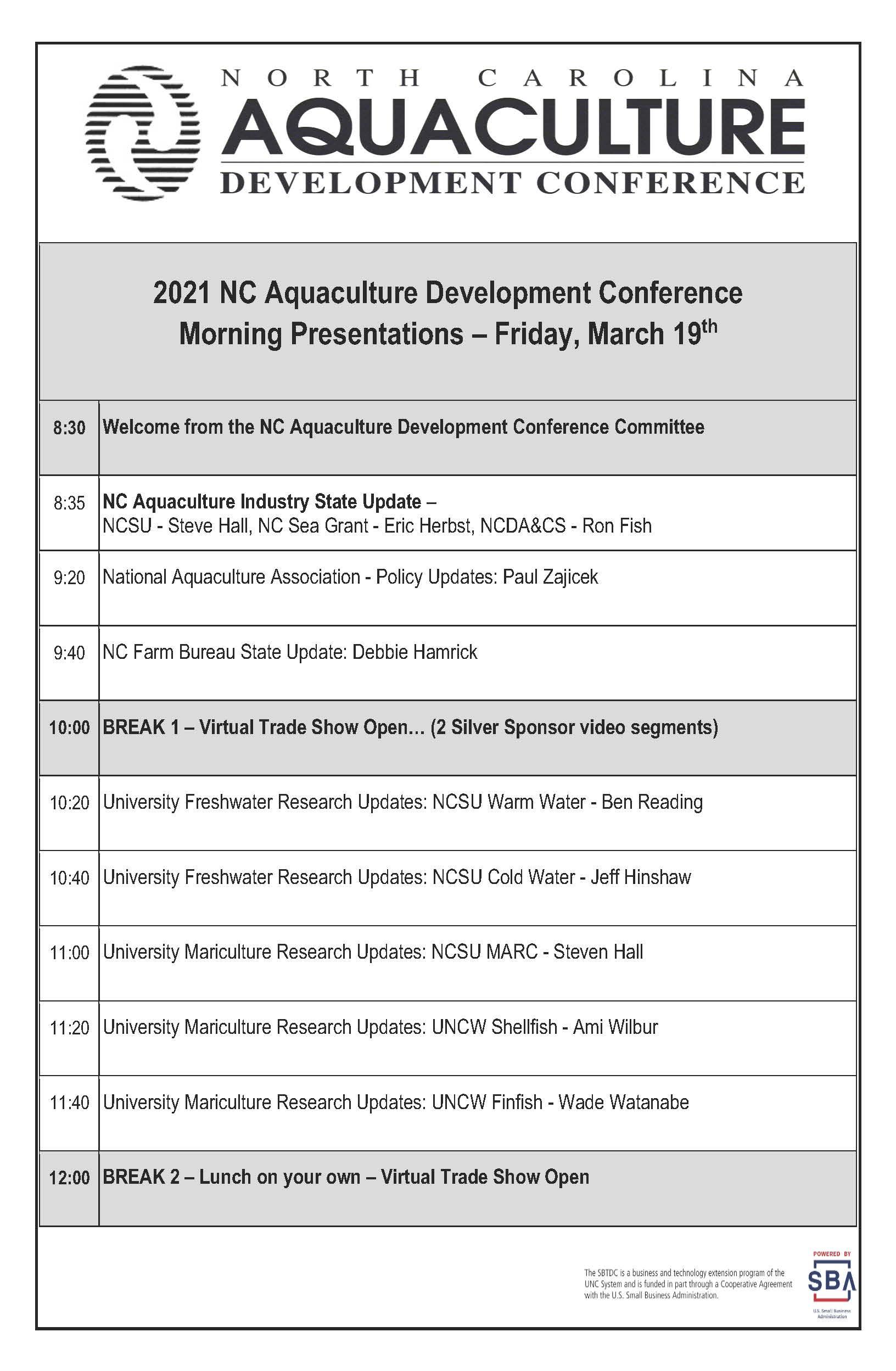 Friday conference agenda