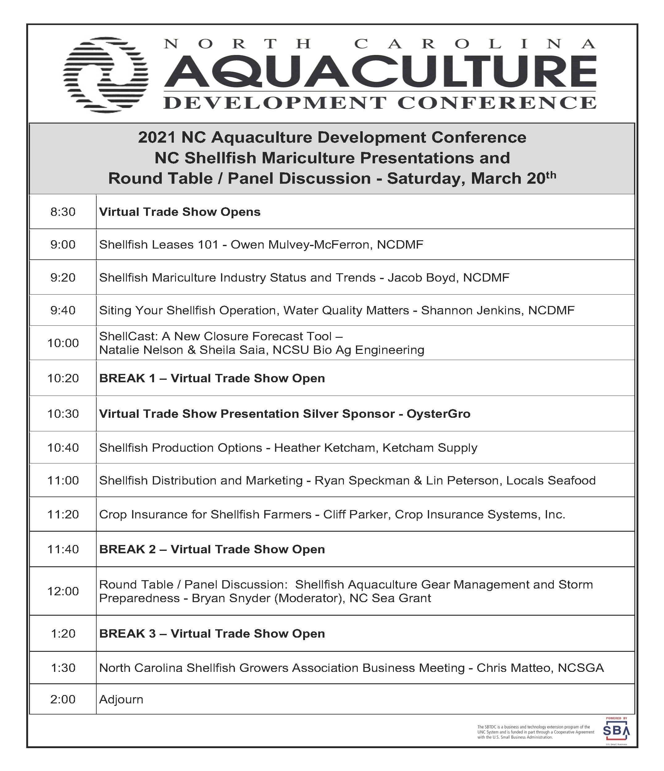 Saturday conference agenda