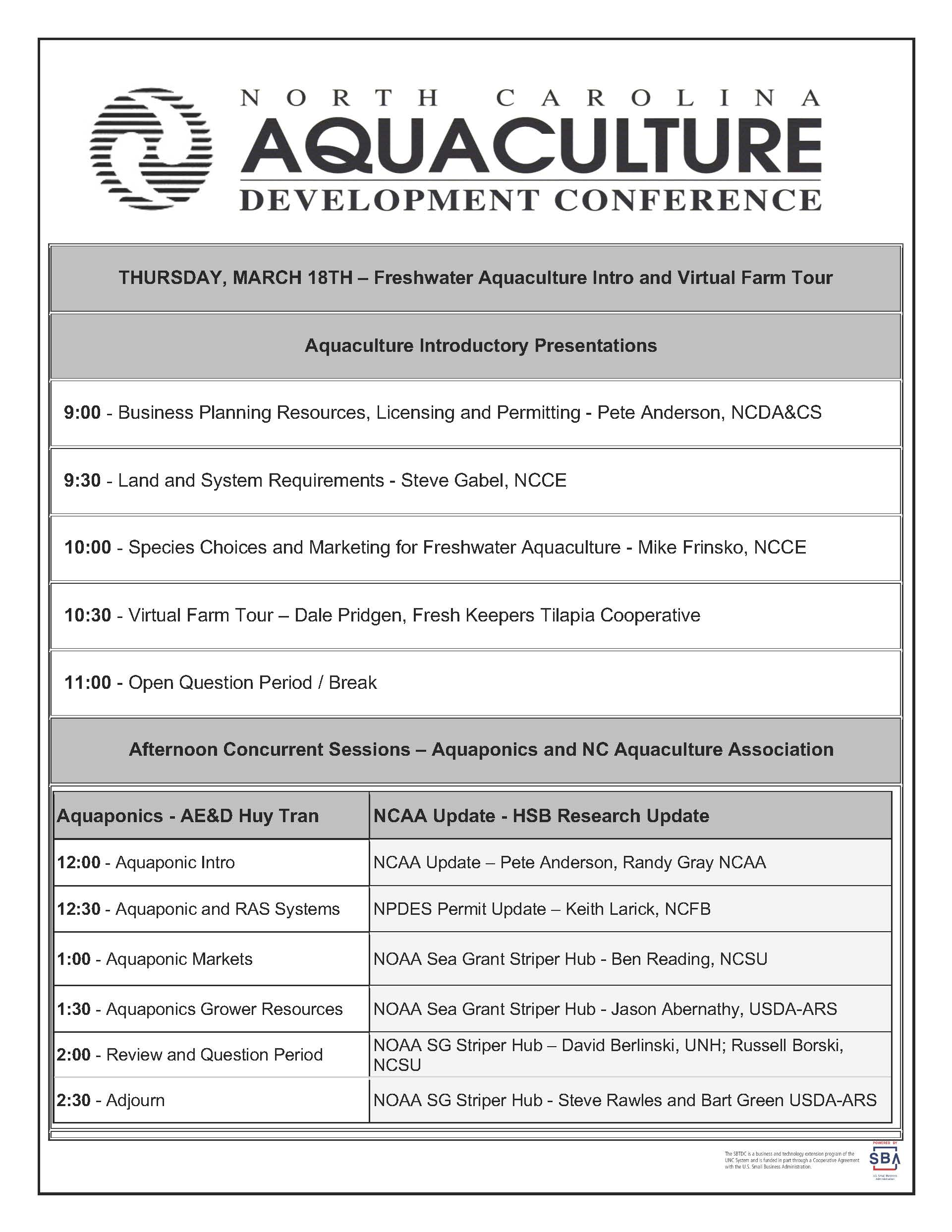 Thursday conference agenda
